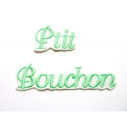 Lot de 2 Appliqués, patch prénom Ptit et Bouchon