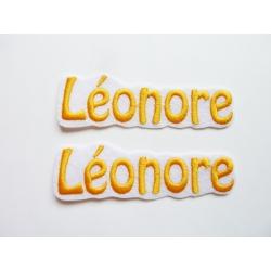 Lot de 2 Appliqués, patch prénom Léonore