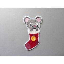 Ecusson, patch souris dans une chaussette