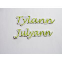 Lot de 2 Appliqués, patch prénom Tylann, Julyann