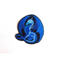 Ecusson broderie dragon bleu fond nori