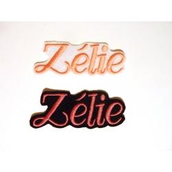 Lot de 2 Appliqués, patch prénom Zélle