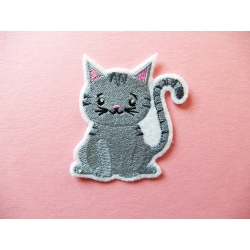 Ecusson, patch chat gris
