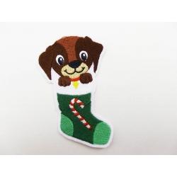 Appliqué patch thermocollant chien dans une chaussette