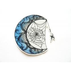 Appliqué thermocollant lune et araignée