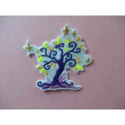 Appliqué thermocollant arbre et étoiles dorées
