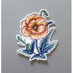 Appliqué fleur, patch coquelicots rouge orangé