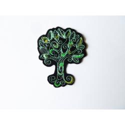 Appliqué thermocollant arbre doodle vert