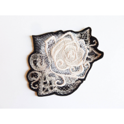 Appliqué fleur, patch rose ghost