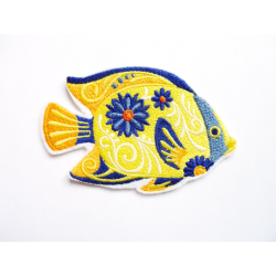 Appliqué poisson exotique jaune fleuri