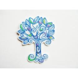 Appliqué patch thermocollant arbre doodle bleu
