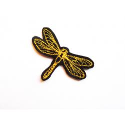 Appliqué thermocollant libellule contour jaune