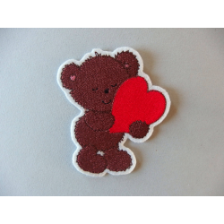 Appliqué ours, patch thermocollant ourson et coeur rouge