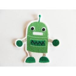 Appliqué patch thermocollant enfant robot vert