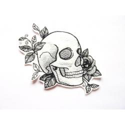 Patch thermocollant tête de mort et fleurs