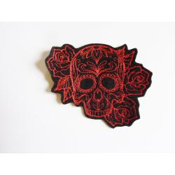 Patch thermocollant tête de mort et roses