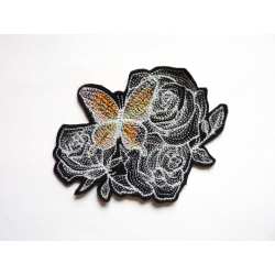 Patch thermocollant papillon (n°1) et fleurs (roses)