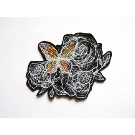 Patch thermocollant papillon (n°1) et fleurs (roses)