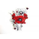 Appliqué fleur, patch coquelicots et papillons