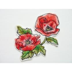 Appliqué fleur, patch coquelicots peints