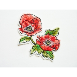 patch thermocollant, patch coquelicots peints