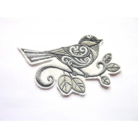 Ecusson thermocollant oiseau gris