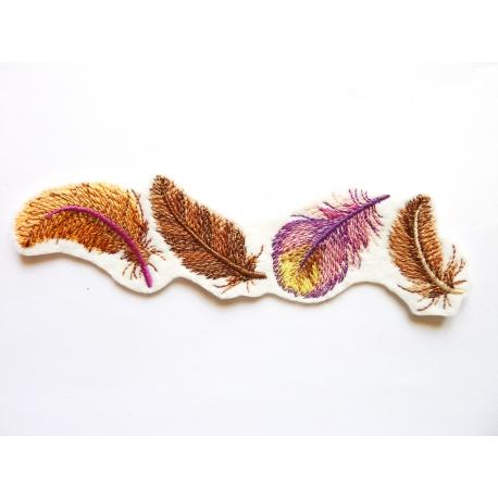 Ecusson thermcollant plumes en bordure
