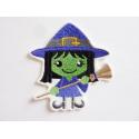 Patch halloween sorcière fillette verte avec son balai