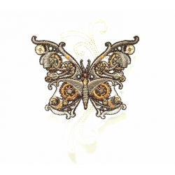 Ecusson papillon steampunk