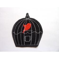 Ecusson cage et silhouette oiseau