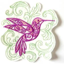 Ecusson thermocollant colibri et arabesques