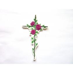 Ecusson thermocollant croix et roses