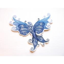 Ecusson thermocollant oiseau bleu en vol