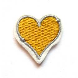 Appliqué thermocollant petit coeur jaune et gris