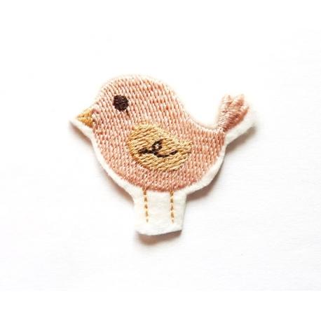 Patch thermocollant petit oiseau rose poudré et beige
