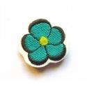Appliqué thermocollant petite fleur bleu-vert et grise