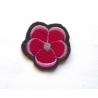 Appliqué thermocollant petite fleur rouge et rose
