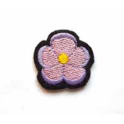 Appliqué thermocollant petite fleur rose eet mauve
