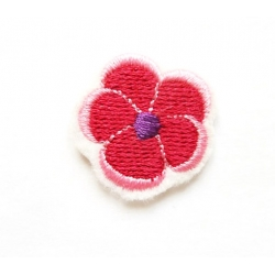 Appliqué thermocollant petite fleur rose-rouge et rose