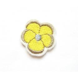 Appliqué thermocollant petite fleur jaune, taupe et grise