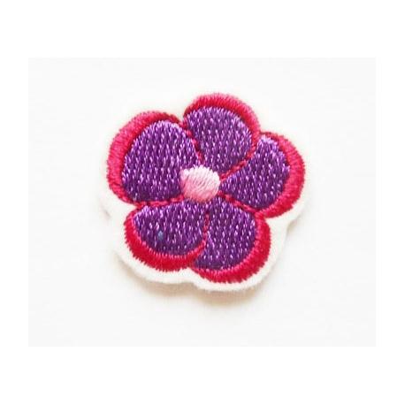 Appliqué thermocollant petite fleur violette, rose-rouge et rose