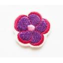 Ecusson thermocollant petite fleur violette, rose-rouge et rose