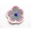 Appliqué thermocollant petite fleur grise, rose et violette