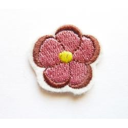 Ecusson thermocollant petite rose, marron, jaune