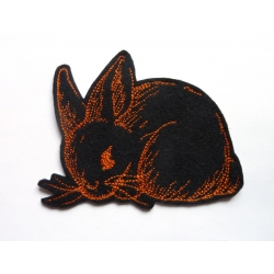 Ecusson thermocollant lapin orange