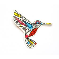 Appliqué thermocollant colibri doodle contour noir n°2