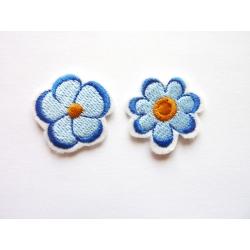Patch thermocollant petites fleur bleues et ocre jaune
