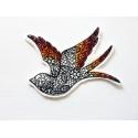 Embroidery patch silhouette oiseau décorée de fleurs