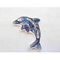 Patch thermocollant silhouette dauphin bleu et mauve