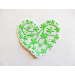 Patch thermocollant coeur en fleurs vert fluo